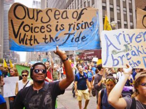 Our see of voices is rising with the tide. Environmental justice march in nyc.